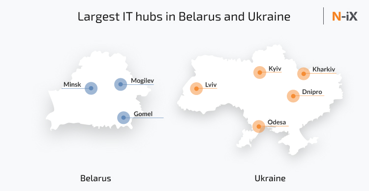 IT hubs with the largest number of software developers in Belarus and Ukraine
