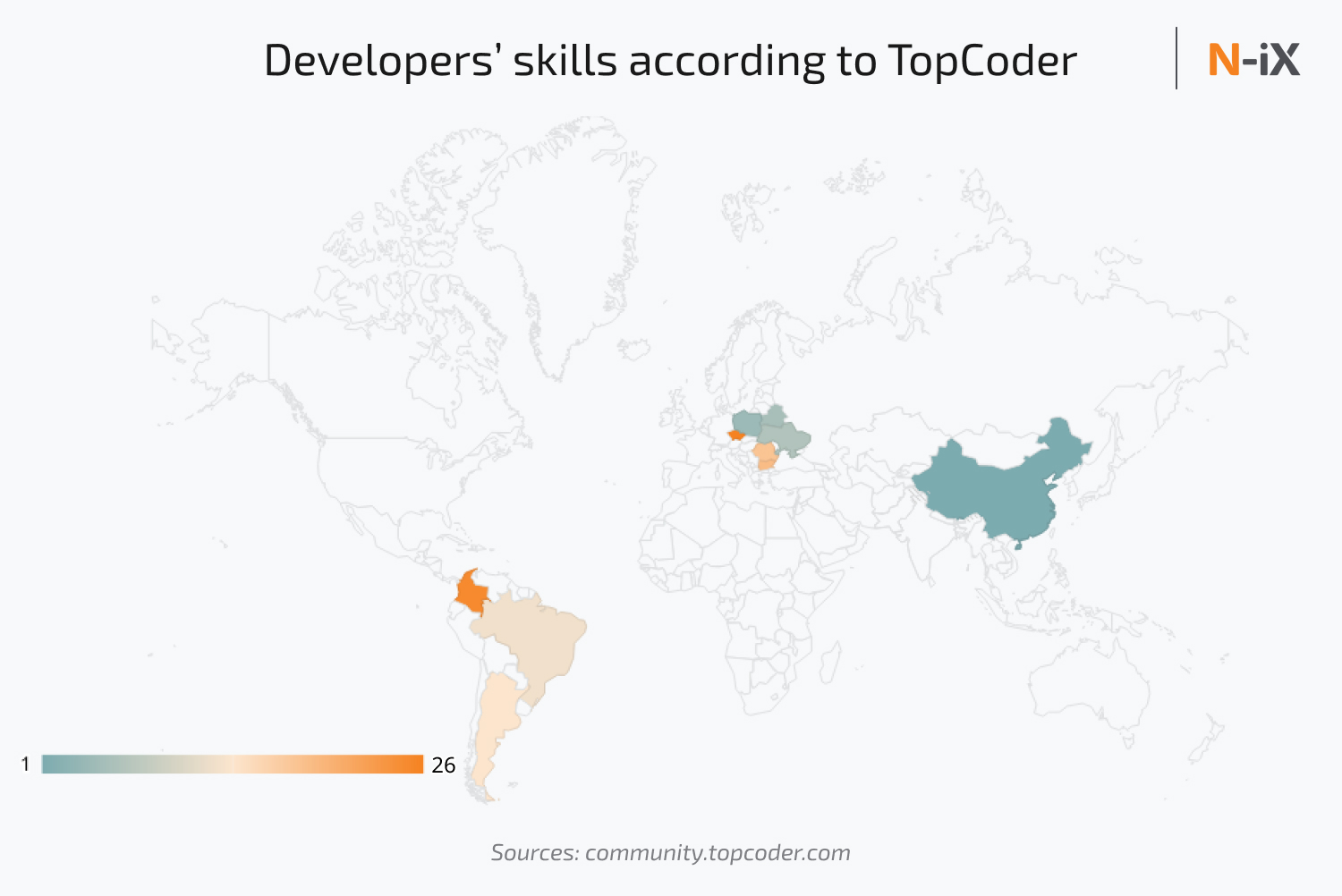 Where to outsource: tech qualifications according to TopCoder ranking