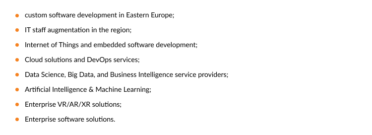 software development vendor in Eastern Europe: areas of expertise