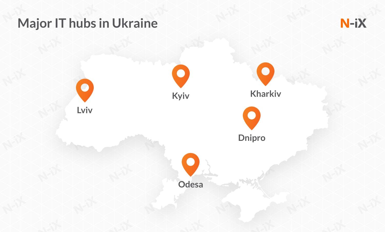 software developers for hire in Ukraine: major hubs