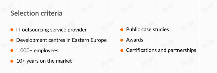 Selection criteria for top software development companies in eastern europe